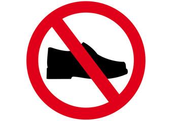 Schild Schuhe verboten