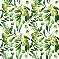 Olive tree pattern in a watercolor style isolated.