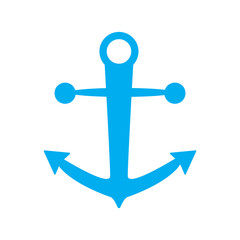 anchor icon blue color isolated vector