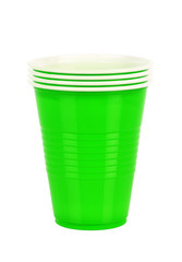 Green plastic cups isolated on white background