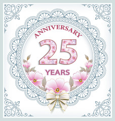 Anniversary card with 25 years in a frame with an ornament and flowers. Vector illustration