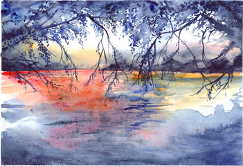 Watercolor evening sunset tree branches river lake landscape