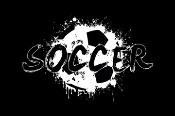 Banner the inscription soccer on the background abstract soccer ball from blots