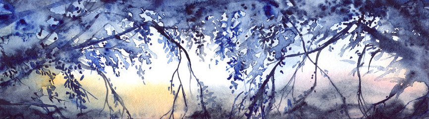 Watercolor evening sunset tree branches landscape scene