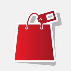 Shopping bag sign with tag. Vector. New year reddish icon with outside stroke and gray shadow on light gray background.