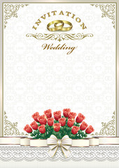 Wedding invitation with a bouquet of roses and rings