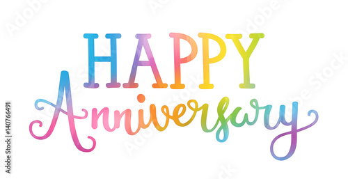 happy anniversary hand lettering icon