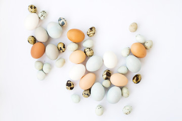 Chicken and quail eggs on a white background.