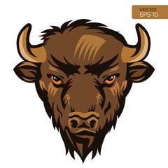 American Bison Bull Mascot Head Vector Illustration. Buffalo Head Animal Symbol Isolated On White Background.