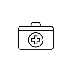 First aid box line icon, medicine, medical cross sign vector graphics, a linear pattern on a white background, eps 10.