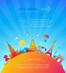 Let's Travel - flat design travel composition