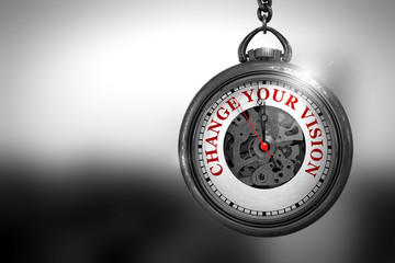 Change Your Vision on Pocket Watch. 3D Illustration.