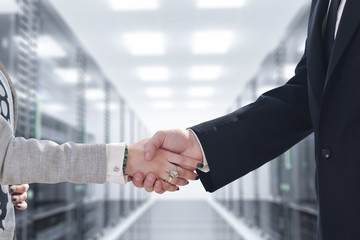 business man and woman handshake on  meeting