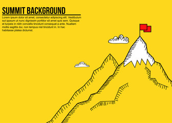 Sketch style minimalist banner of mountain summit and red flag Wall mural
