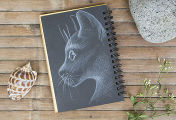 Cat head portrait hand-drawn illustration. Cat by white chalk on black paper