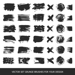 Painted grunge stripes set. Black labels, paint texture. Brush strokes vector. Background handmade design elements.
