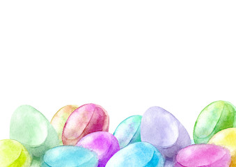 Border of a Easter eggs.Spring image.Watercolor hand drawn illustration.