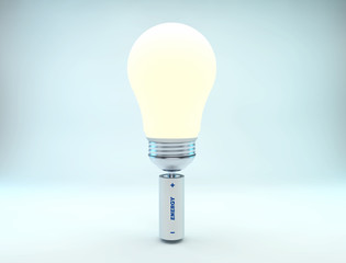bright light bulb and battery energy 3D concept cold color version
