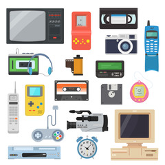 Icons of retro gadgets of the 90's in a flat style