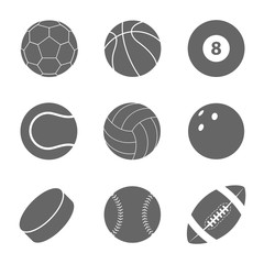 Sports balls set. Silhouettes of balls.