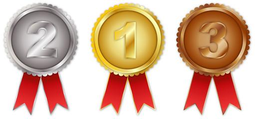 1, 2 und 3 Platz Medaille