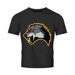 Furious wolf sport vector logo concept isolated on black t-shirt mockup. Modern predator professional team badge design. Premium quality wild animal t-shirt tee print illustration.