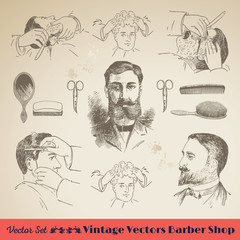 The Barber Shop: Vintage Retro Collection Set with Gentleman. Perfect for: Branding, Cards, Poster, Flyers, Websites, Business, Shops and Illustration Work.