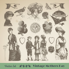 Happy mothers day - Vintage Vector Set Collection. Perfect for thank you notes, cards, scrapbooking, photo books and illustration work.