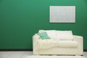Room interior with sofa on color wall background