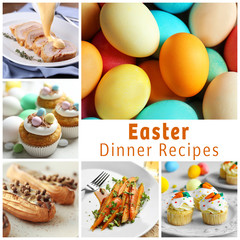 Text EASTER DINNER RECIPES on background. Collage of delicious dishes