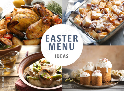 text easter menu ideas on background collage of