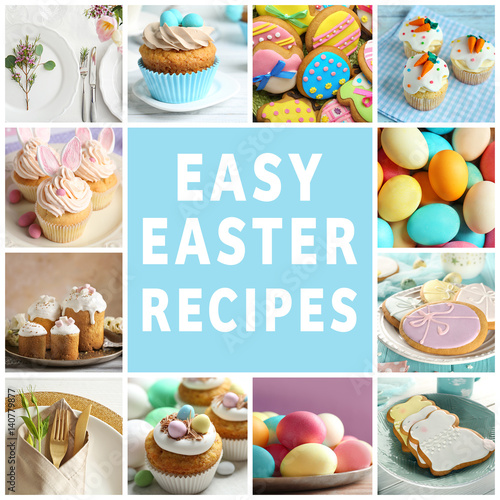 """Text EASY EASTER RECIPES on background. Collage of ..."