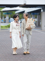 Mature couple with groceries