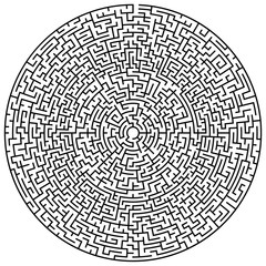 Solvable circular maze element isolated on white