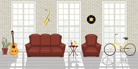 Loft studio Interior. Big windows, white brick wall room of musician loft style