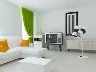 interior design of a bright room