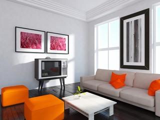 interior design of a bright room