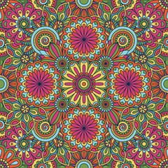 Floral background made of many doodle flowers. Seamless pattern. Vector illustration.