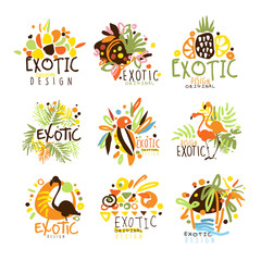 Exotic Summer Vacation Colorful Graphic Design Template Logo Series,Hand Drawn Vector Stencils