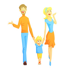 Parents Taking A Walk With Son Holding Hands, Happy Loving Families With Kids Spending Weekend Together Vector Illustration