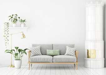 Scandinavian style livingroom with fabric sofa, pillows, green plants and traditional stove. 3d rendering.