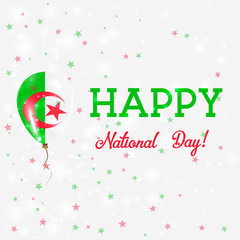 Algeria National Day patriotic poster. Flying Rubber Balloon in Colors of the Algerian Flag. Algeria National Day background with Balloon, Confetti, Stars, Bokeh and Sparkles.