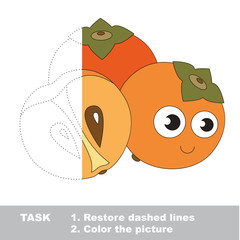 Persimmon to be colored. Vector trace game.