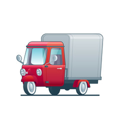 Cartoon delivery red tricycle on white background