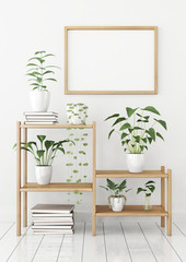 Horizontal poster mock up in nordic style with wooden frame and green plants on stellage. 3d rendering.