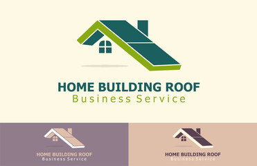 green home building roof logo