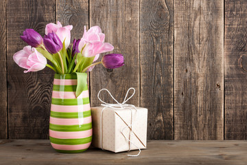 Fresh colorful tulips, gift box