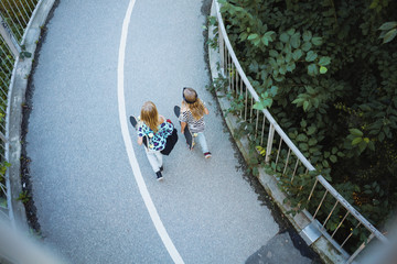 High angle view of friends walking on bridge by trees