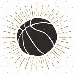 Vintage label, Hand drawn Basketball ball sketch, grunge textured retro badge, typography design t-shirt print, vector illustration