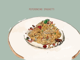 peperoncino spaghetti Hand drawn sketch water color vector.